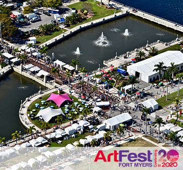 ArtFest Fort Myers Aerial View with ArtFest 2020 Logo