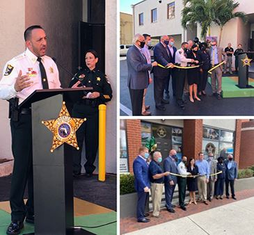 Three views of Lee County Sheriff Office Downtown Outreach Center Opening Ceremony Ribbon Cutting