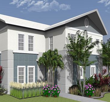 Towles Garden Four Plex Angled Exterior Rendering