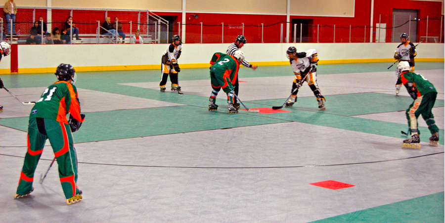 Faceoff in roller hockey match