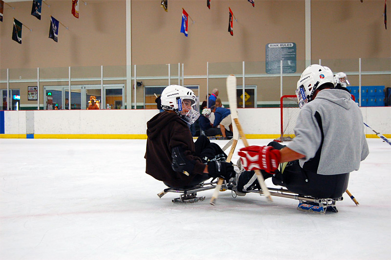 Sled hockey players battling for puck